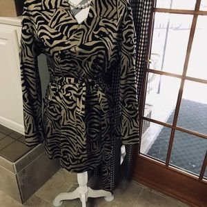 Dana Buchman Animal Print Trench Coat,Size: XL
